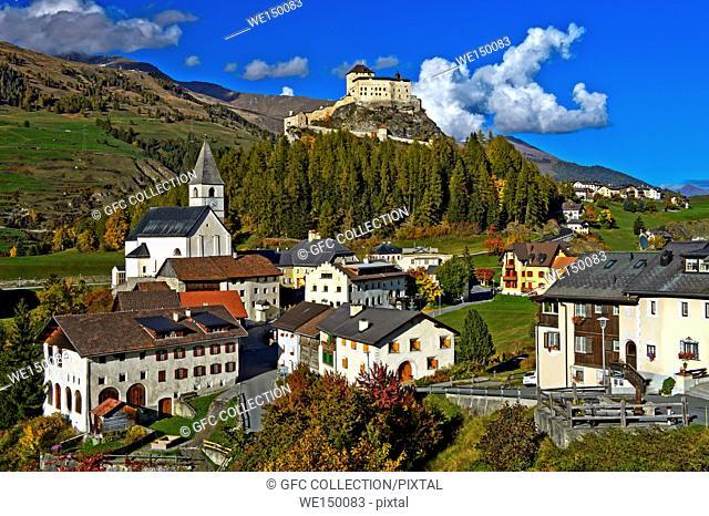 Tarasp Village withTarasp Castle, Tarasp, Lower Engadin, Graubünden, Grisons, Switzerland