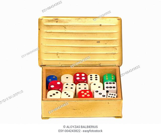 isolated colorful dices in the vintage box