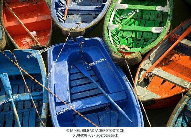 rowing boats in a harbour Bermeo, Biscay, Spain, Europe