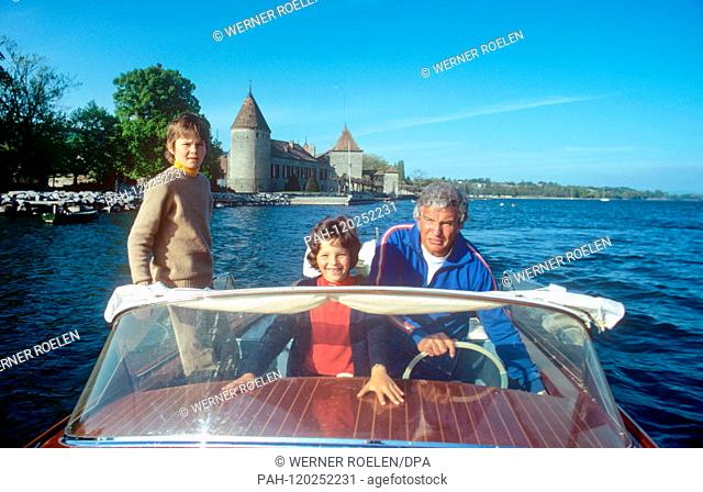 (L-r): Son Marc-Tell, daughter Melisande and husband Helmut Schmid in a motorboat near her house near Lausanne. Swiss actress Lilo Pulver was born on 11 October...