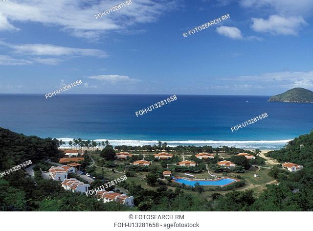 resort, Tortola, British Virgin Islands, Caribbean, BVI, Scenic view of Lambert Beach and Resort on the island of Tortola on the Caribbean Sea