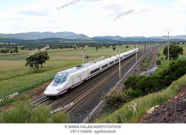 AVE High-speed train Madrid-Sevilla traveling along La Mancha. Puertollano, Ciudad Real province, Castilla La Mancha, Spain