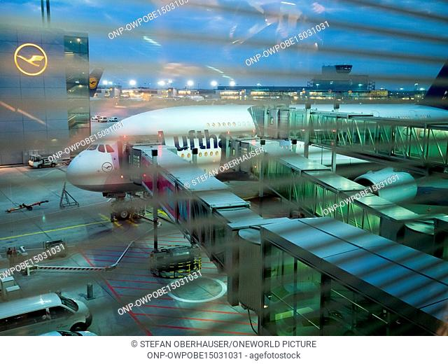 Germany, Hesse, Frankfurt am Main, Lufthansa Airbus A380 at the airport Frankfurt am Main