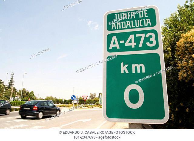 Traffic plate in Benacazon. Seville. Spain