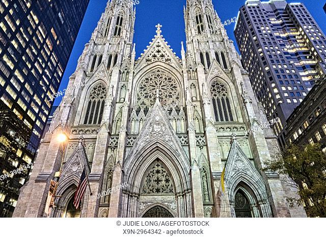 New York City, Manhattan. Looking Up at St. Patrick's Cathedral at Twilight