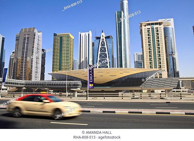 Metro station, Sheikh Zayed Road, Dubai, United Arab Emirates, Middle East