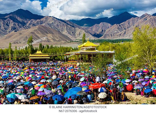 His Holiness the 14th Dalai Lama gives a teaching to a crowd of 175,000 people at Choglamsar, Ladakh, Jammu and Kashmir State, India