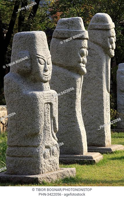 South Korea, Seoul, National Folk Museum, stone statues