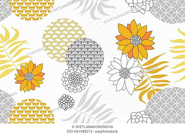 Abstract flowers, palm leaves and geometric ornaments with oriental motifs