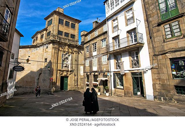 Feijoo Square, Plaza de Feijoo, Praza de Feixó, Santiago de Compostela, Galicia, Spain