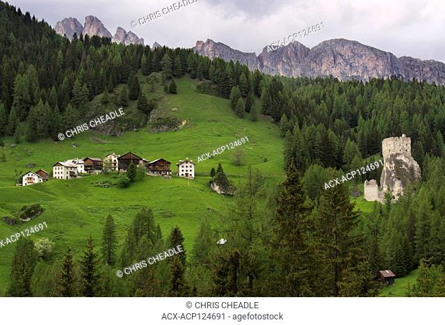 Andraz Castle, a famous emblem of the Fodom Valley, built around 1000 A.D., Dolomites, Italy