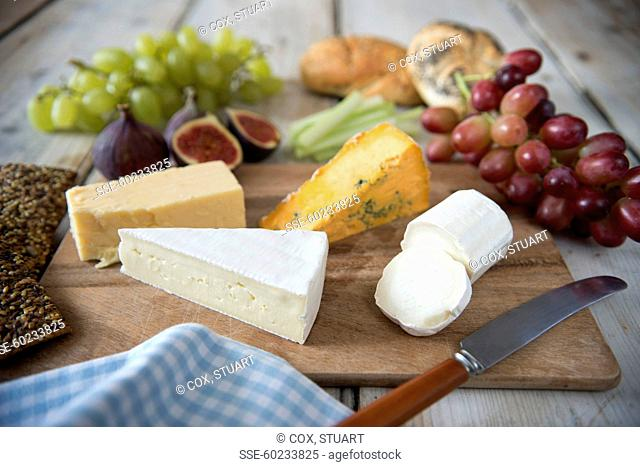 Cheeseboard, fruit ,bread and crackers