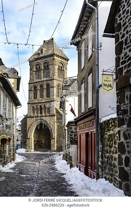 Typical street and the Saint Mathieu church, Salers, Cantal department, France, Europe