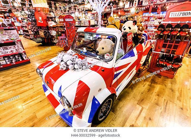 England, London, Piccadilly Circus, Souvenir Shop Display of Mini Car and Souvenirs