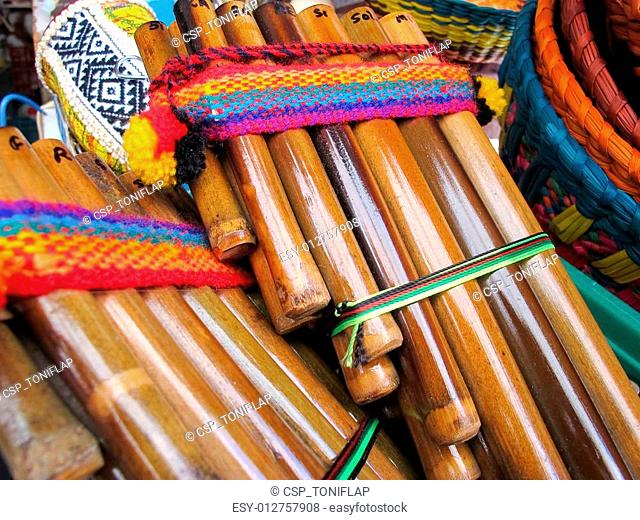 Andean flutes in a traditional product market. Chile