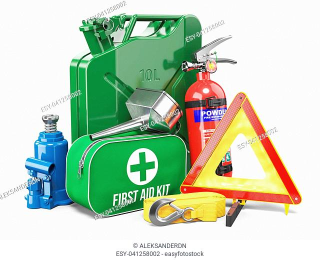 Group of automobile accessories. Jerrycan, funnel, fire extinguisher, first aid kit, tow rope, jack and emergency warning triangle