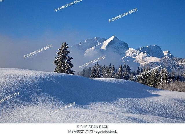 Winter scenery with view to the Alpspitze, Garmisch-Partenkirchen, Bavaria, Germany