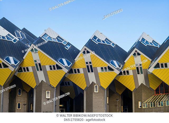 Netherlands, Rotterdam, cube buildings of the Overblaak Development, b. 1984