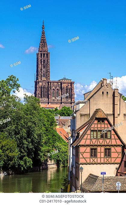 Cathedral and La Petite France houses Strasbourg Alsace France