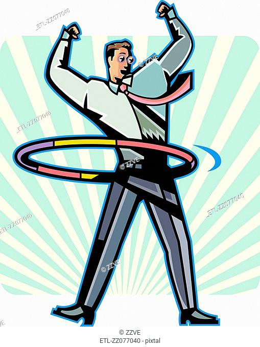 Business man playing with hoop