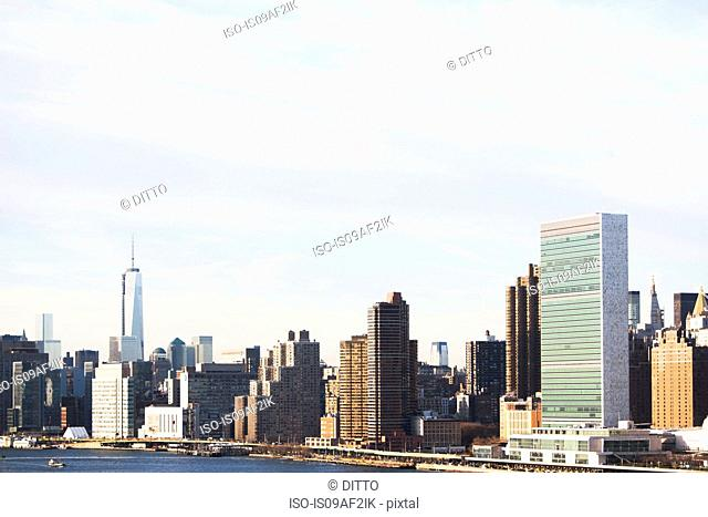 East river and Manhattan cityscape, New York City, USA