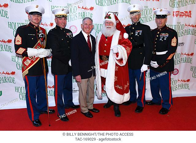 """Lt. Gen. Harry """"""""Pete"""""""" Osman and Santa Claus arrives at the 87th Annual Hollywood Christmas Parade in Hollywood California on November 25, 2018"""