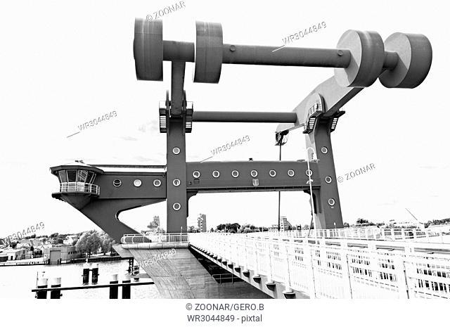 Peene bridge Wolgast Baltic Sea Germany in black and white