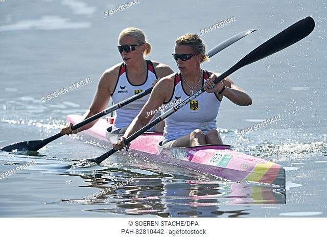 Franziska Weber (R) and Tina Dietze of Germany in action during the Women's Kayak Double 500m Heats of the Canoe Sprint events during the Rio 2016 Olympic Games...