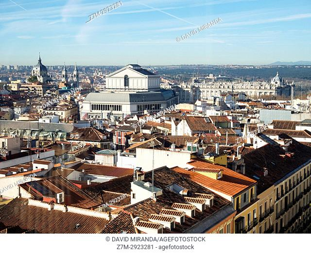 View of roof with Palacio Real, Opera House and Almudena Cathedral. Madrid, Spain