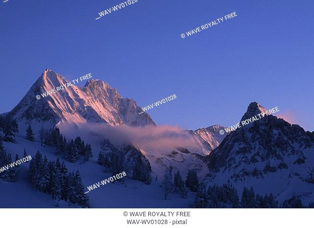 Jumbo Mountain and Karnak Mountain seen from Jumbo Pass, Purcell Mountains, British Columbia