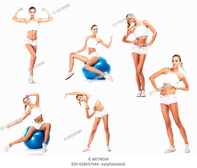 Sport woman in perfect shape with green measure. Concept - healthy lifestyles