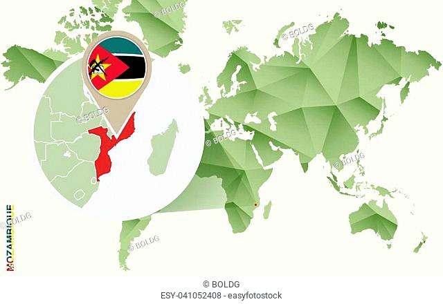 Infographic for Mozambique, detailed map of Mozambique with flag. Vector Info graphic green map
