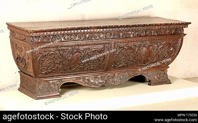 Cassone. Date: ca. 1500-1525; Culture: North Italian (Venice); Medium: Walnut, poplar, wrought iron; Dimensions: H. 66 cm, w. 176.1 cm, d