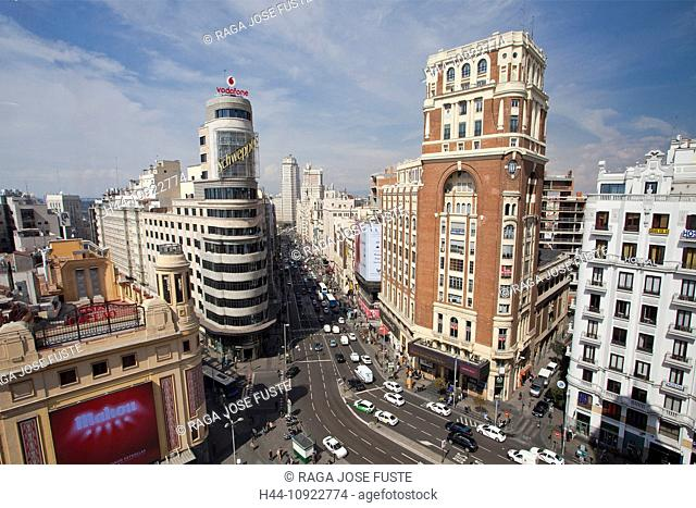 Spain, Europe, Madrid, architecture, avenue, callao, capital, cars, central, downtown, famous, gran via, skyline, traffic