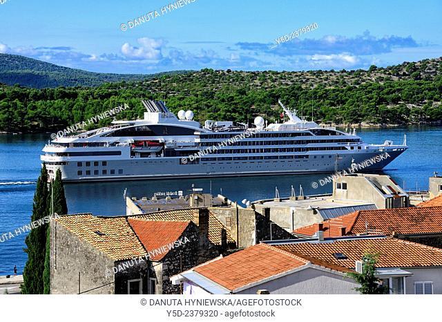 cruiseship in front of old town of Sibenik, Croatia, Europe