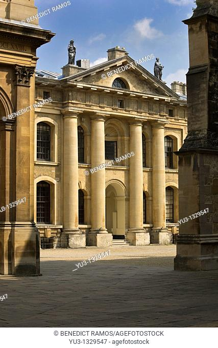 View of the Clarendon Building, Oxford University, Oxfordshire, England  Designed by Nicholas Hawksmoor and finished in 1715
