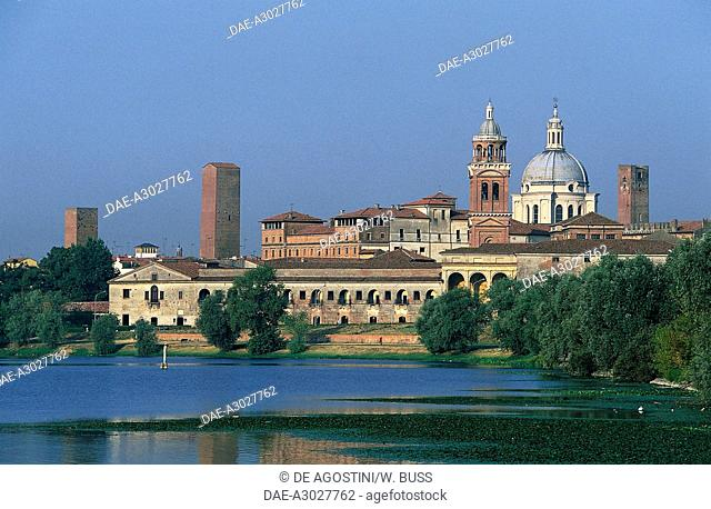 View of Mantua (UNESCO World Heritage Site, 2008) with Lower lake in the foreground, Lombardy, Italy