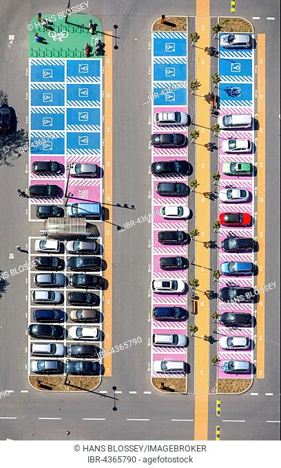 Aerial view, Parking spaces for woman, disabled parking, parking space, shopping center Ruhr Park Bochum at the B1, Ruhrschnellweg, Bochum, Ruhr district