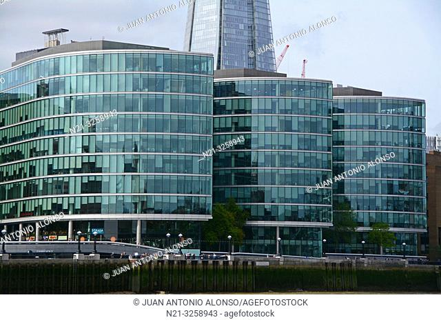 Office buildings at The More London Development on the Thames Waterfront. Behind we see a partial view of the Shard. London, England, Great Britain