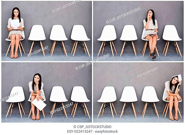 Long time waiting. Digital composite of young businesswoman expressing different emotions while holding paper and sitting at the chair against grey background
