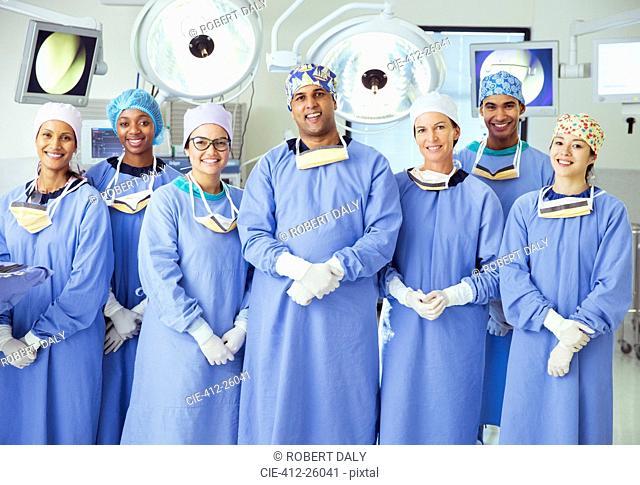 Portrait of confident surgeons in operating room