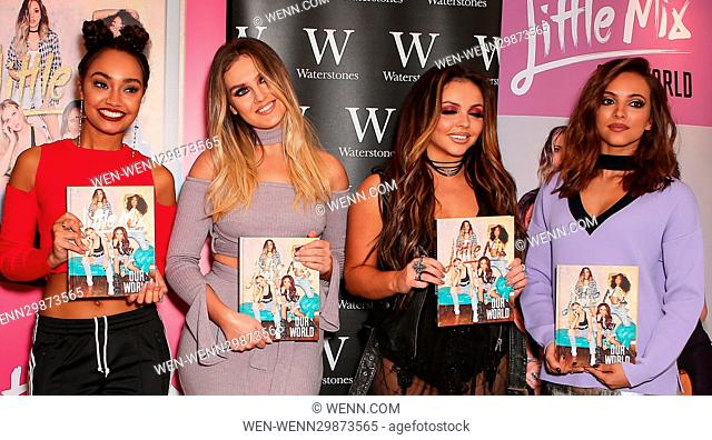 Little Mix sign copies of their book, 'Our World' at Waterstones in Bloomsbury, London Featuring: Little Mix, Leigh Anne Pinnock, Perrie Edwards, Jesy Nelson