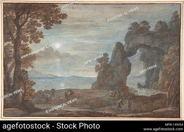Coast View with Perseus and the Origin of Coral. Artist: Claude Lorrain (Claude Gellée) (French, Chamagne 1604/5?-1682 Rome); Date: 1674; Medium: Pen, brown ink