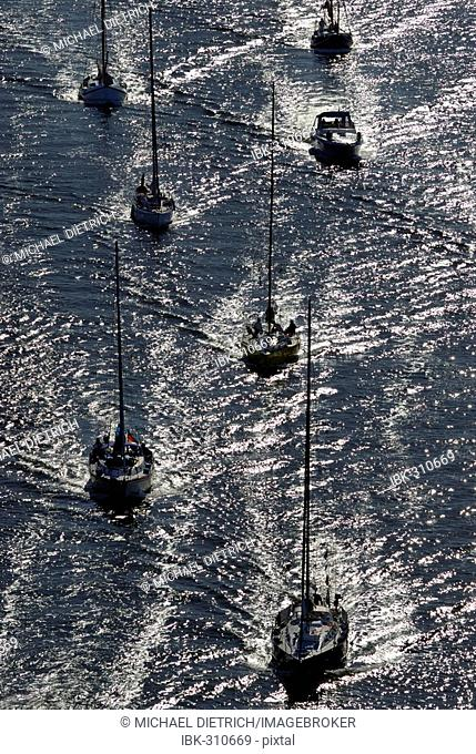 Sailboats on Kiel Canal, Schleswig-Holstein, Germany