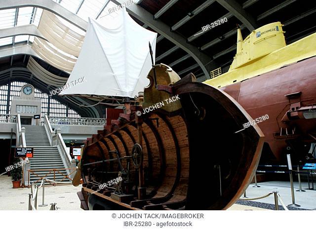 FRA, France, Normandy, Cherbourg: Cite de la Mer, maritime museum ant aquarium, display of a frensh nuclear submarine