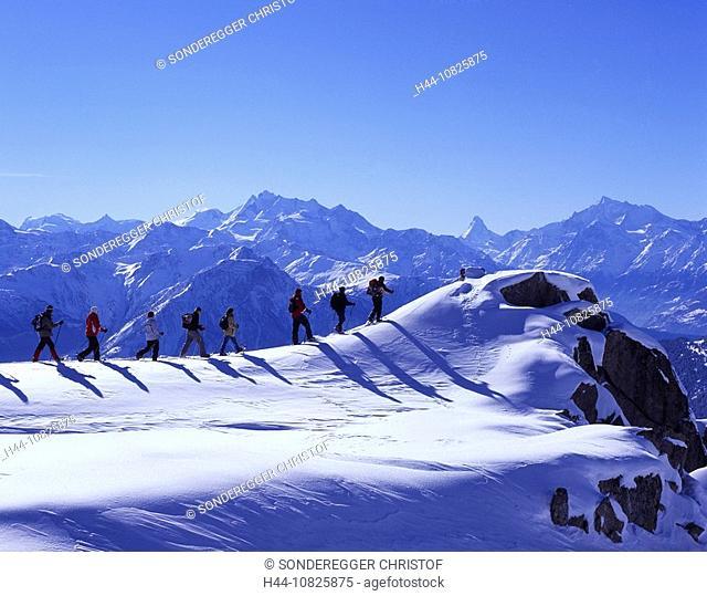 group, snow shoe walking, Aletsch glacier, snow shoes, tour, mountains, Alps, sports, winter, snow, winter sports, Rie