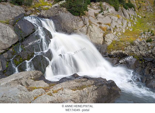 Little waterfall in backcountry in Kananaskis Country, Alberta, Canada