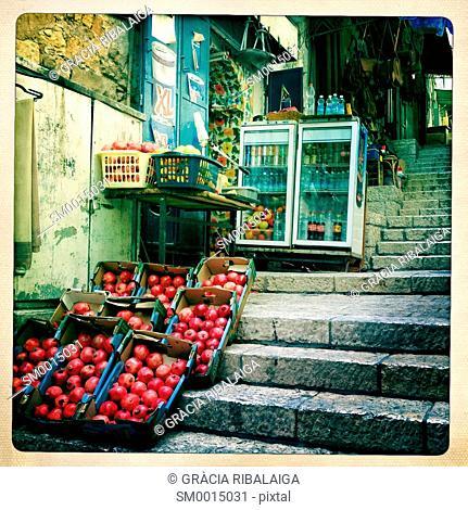 Fruit for sale on the street. Jerusalem, Israel