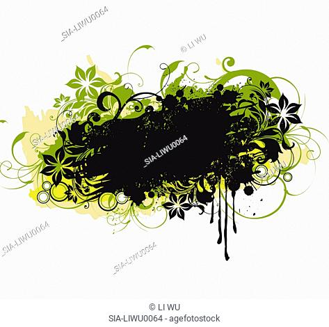 Black and green flowers on white background