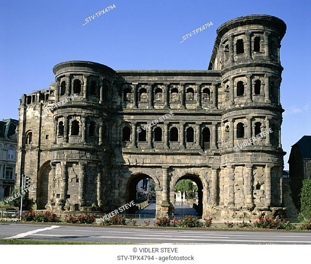 Black gate, Germany, Europe, Heritage, Holiday, Landmark, Mosel, Porta nigra, Rhineland, Tourism, Travel, Trier, Unesco, Vacatio